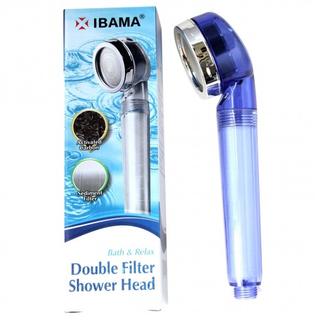 IBAMA Handheld Double Filtered Shower Head Pressure Boost and Water Saving for Fixing Dry Skin & Hair loss (Blue)