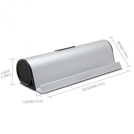 LuguLake Silver 610-S Aluminum Portable Bluetooth 4.0 Speaker with Stand Dock