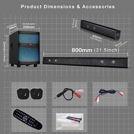 LuguLake Bluetooth TV Soundbar Speaker System with Subwoofer