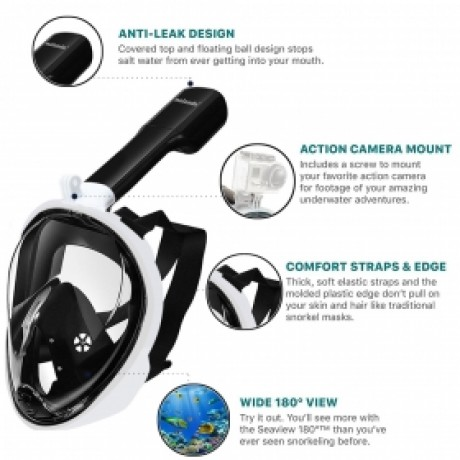 Nalanda Full Face 180° View Snorkel Mask Anti-Fog Breath Underwater Snorkel Mask with Go Pro Compatible - Black