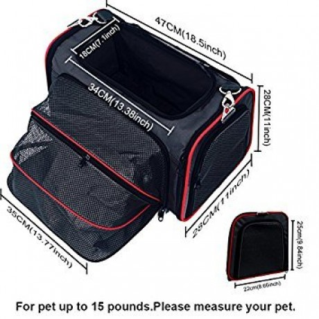 OKBUYNOW Extendable Pet Carrier Soft-Sided Travel 3-in-1 Backpack/Handbag/Shoulder Bag for Dogs and Cats
