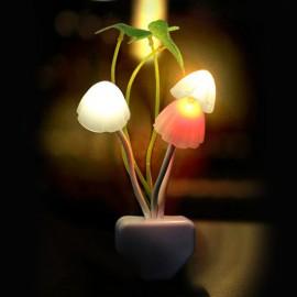 Novelty Mushroom Fungus Night Light EU & US Plug Light Sensor 220V 3 LED Colorful Mushroom Lamp Led Night Lights T0612 P0.4
