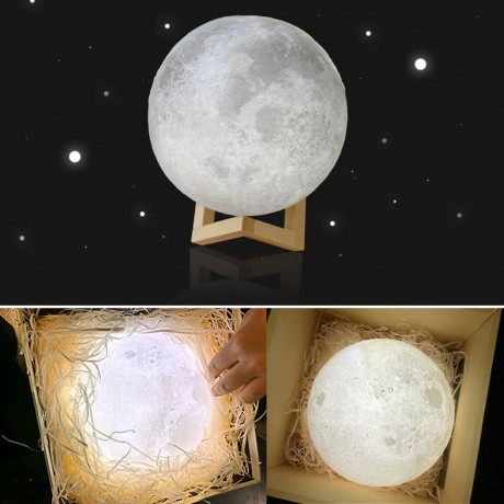 8-20cm Diameter 3D Print Moon Lamp USB LED Night Light Moonlight Gift Touch Sensor Color Changing Night Lamp Home Bedroom Decor