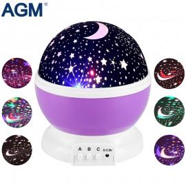 AGM Stars Starry Sky LED Night Light Star Projector Lamp Luminaria Moon Novelty Rotary Flashing Nightlight For Kid Children Baby