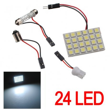 1/2 Set T10 BA9S Festoon Adapters 24 SMD 5050 LED Light  Car Auto Reading Panel Interior Dome Lamp DC12V --M25