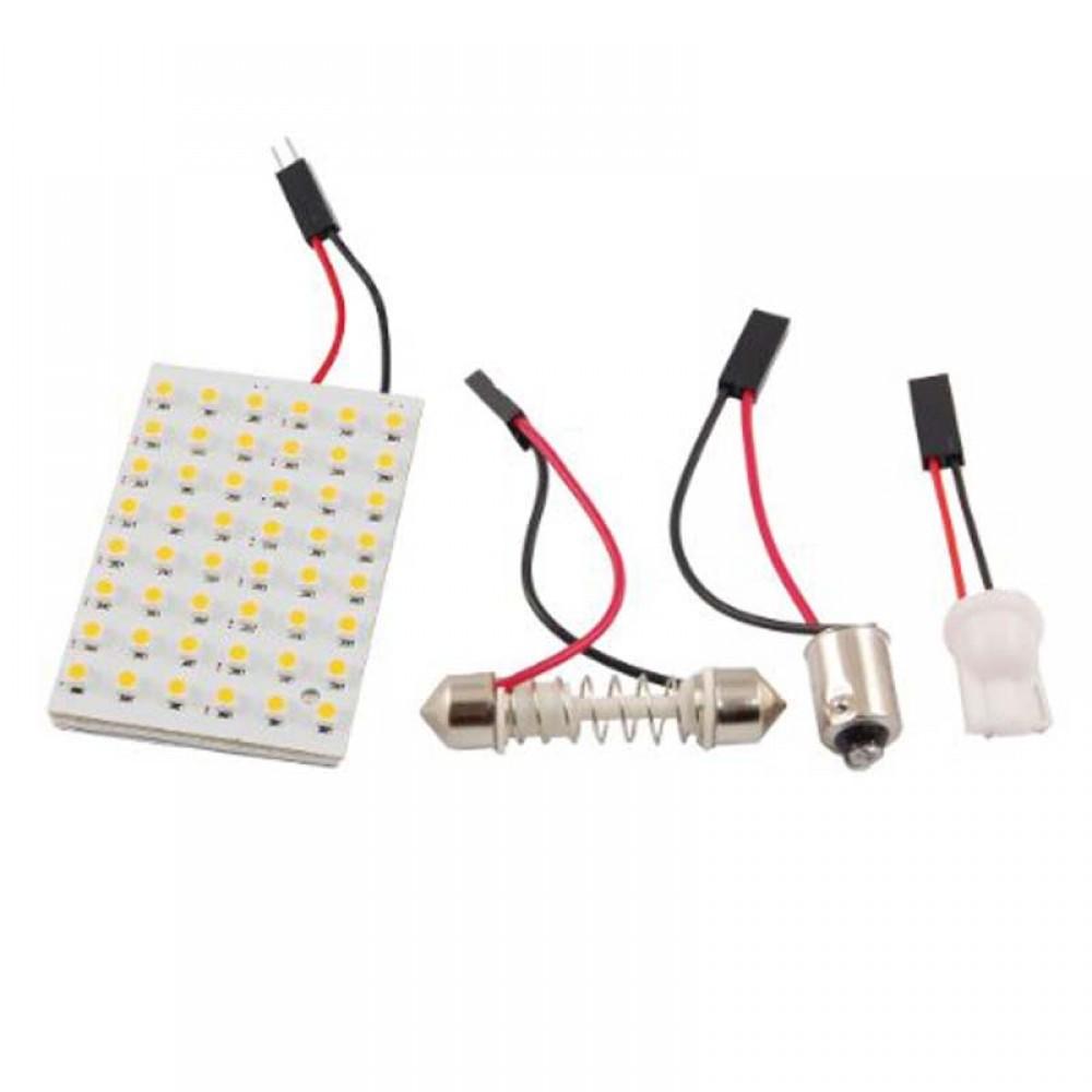 48 LED Panel 3528 SMD Dome Light Lamp + T10 BA9S Festoon Adapter --M25