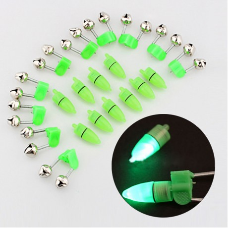 10pcs LED Flash Light Night Electronic Fishing Bite Alarm Finder Lamp Double Twin Bells Tip Clip On Fishing Rod Tackle -