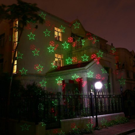 Hot Christmas Laser Lights, Red & Green Wireless Control Outdoor Star Projector, 20 Patterns IP65 Waterproof Laser Outdoor Light