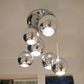 GZMJ Wonderland Modern Copper Glass Ball Pendant Lights Shade Mirror Luminaire Christmas Home Design LED E27 Pendant Lamp Light