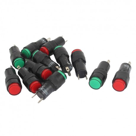 12pcs AC 220 V 2 P signaling lamps red green pilot lights bulb indicator
