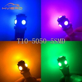 10Pcs T10 Bright Car Led W5W 5050 5 SMD White Blue Red interior Lights Wedge Reading Lamp Trunk Bulbs License Plate Light DC 12V