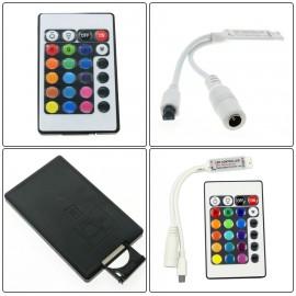 RGB LED Controller DC12V Mini 24Key IR Remote Controller For 3528 5050 RGB LED Strip.