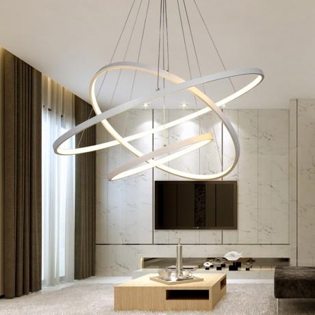 Modern Led Chandelier Ring Lustre Lighting With Remote Control Aluminum Lamps For Dinning Room Bedroom Restaurant Avize Fixtures