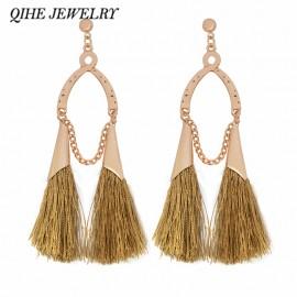 QIHE JEWELRY Earring Long tassel colorful silk gipsy fringe earrings Tassel jewelry Bohemian chandeliers 12 color for choose