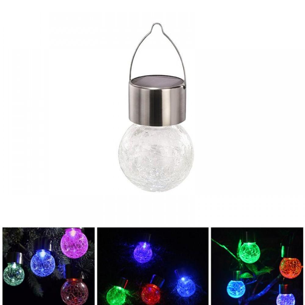 Glass Globe Solar Powerd Light Hanging Colorful Solar Lamp Glass Ball Light for Courtyard Lawn Garden
