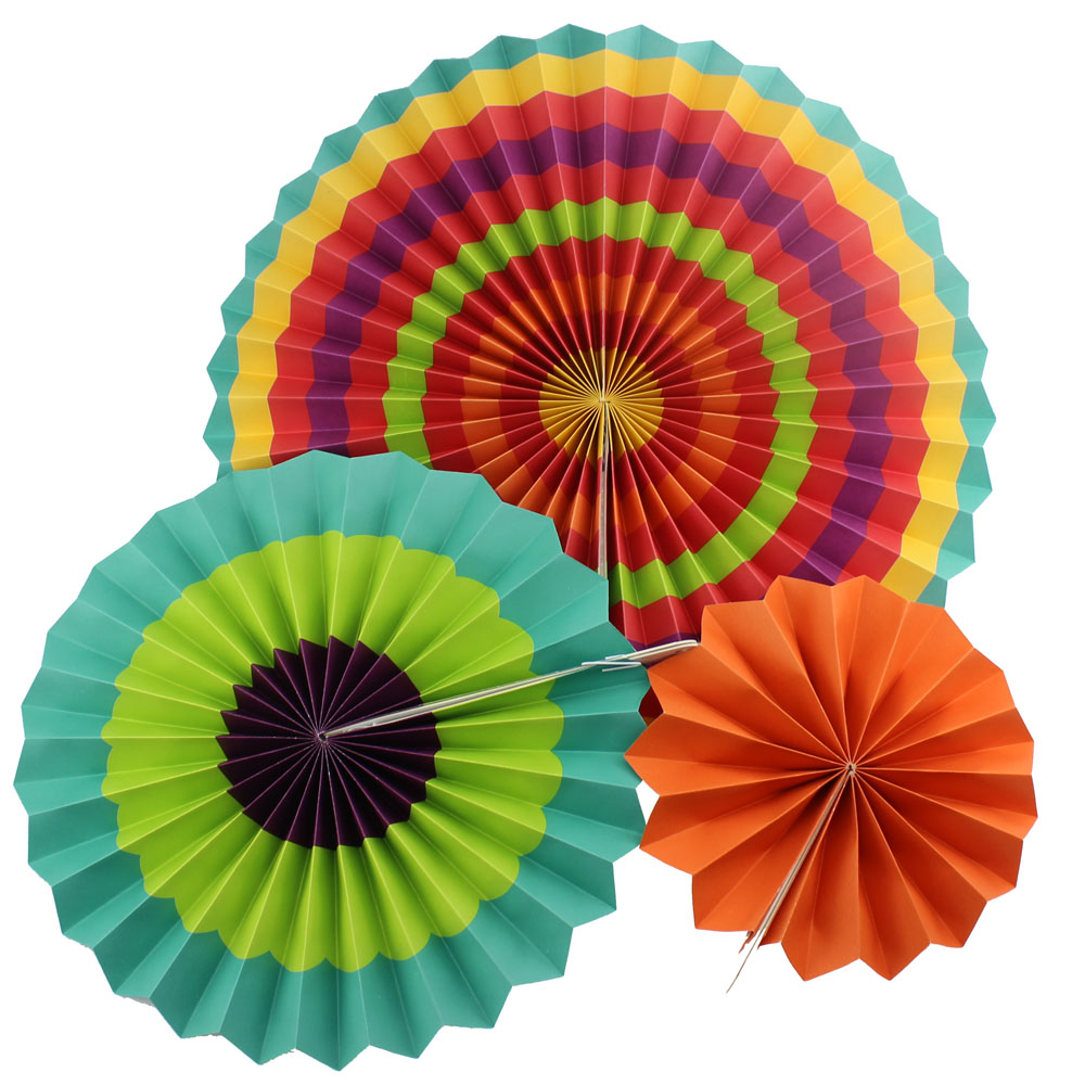 """6pcs/set 8"""" 12"""" 16"""" Fiesta Colorful Paper Fans Round Wheel Disc for Party Wedding Event Home Decoration"""