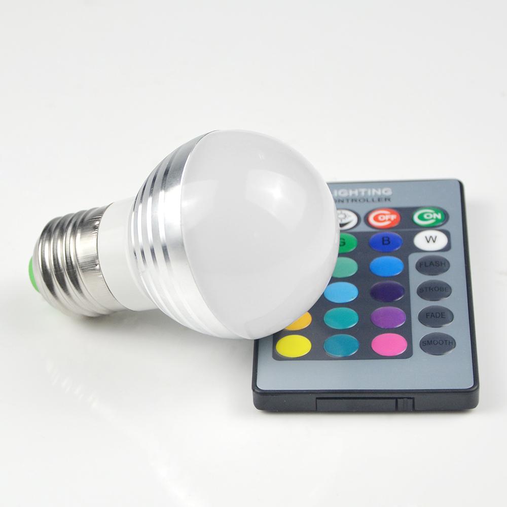 1Pcs Lovely 16 Colors RGB Christmas Decor Atmosphere LED Night light E27 5W 110V - 220V LED lamp Spotlight Bulb + IR Remote