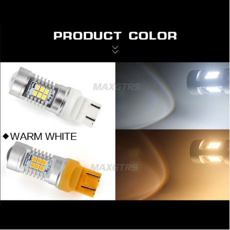 2x Warm White 7443 T20 W21/5W 2835 21SMD LED Auto Tail Reverse Turn Signal Indicator Brake Bulb Lamps Parking Leds Rear Lights
