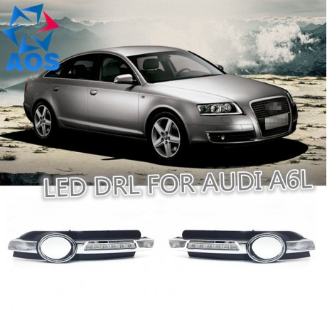 2PCs/set Car styling DRL led Daylight waterproof Car Daytime Running lights For Audi A6 A6L C6 2005 2006 2007 2008