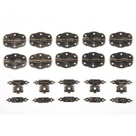 15pcs/set Antique Drawer Wood Box Cabinet Door Hasp Lock Hook Latch Butterfly Hinges For Jewellery Fittings Furniture Decorative