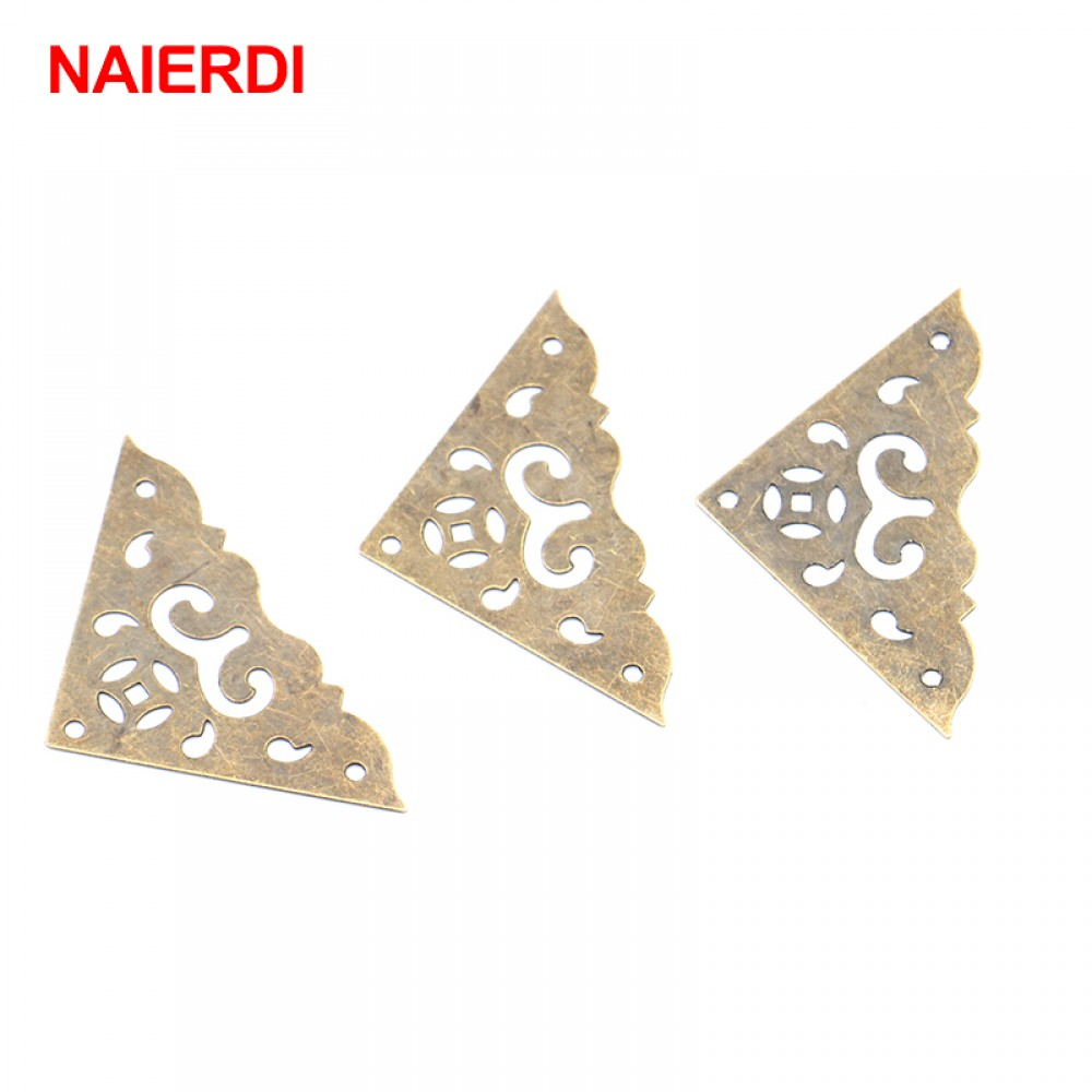 10PCS NAIERDI Jewelry Box Corner Protector Bronze Decorative Corner Bracket Antique Book Frame Accessories Furniture Hardware