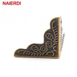 10PCS NAIERDI 3.6x2.4cm Luggage Case Box Corners Brackets Decorative Corner For Furniture Decorative Triangle Rattan Carved