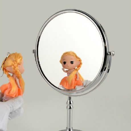 OWOFAN Bath Mirrors 8 Inch Spinning Desktop 2 Faced Magnifying  1:3 and 1:1 Makeup Cosmetic Mirror Table Chrome Mirror 728C