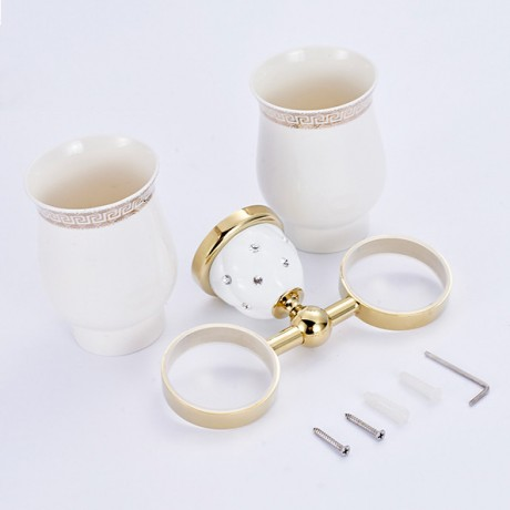Cup & Tumbler Holders Wall Mounted Gold Silver Copper Toothbrush Holder Bath Hardare sets Bath Product Double Cup Holder 5203