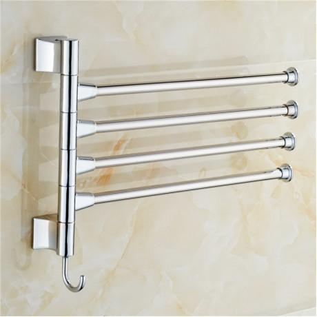 Stainless Steel Towel Bar Bathroom Rotating Towel Holder Bathroom Kitchen Towel Rack With Hook Hardware Accessory FULI