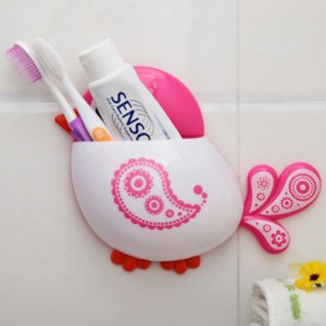 Bathroom Accessories for Toothbrush Bath Storage Organizer Tool Creative Bird Pattern Suction Cup Toothbrush Holder