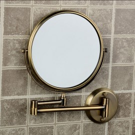 8 Inch Dual Face Antique Brushed Makeup Mirrors 1x3 Magnifier Brass Cosmetic Wall Mirror Wall Mounted Bath Mirror AC