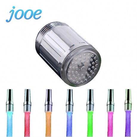jooe LED Water Faucet Stream Light 7 Colors Changing Glow Shower Tap Head Temperature Control Pressure Sensor Kitchen Accessory