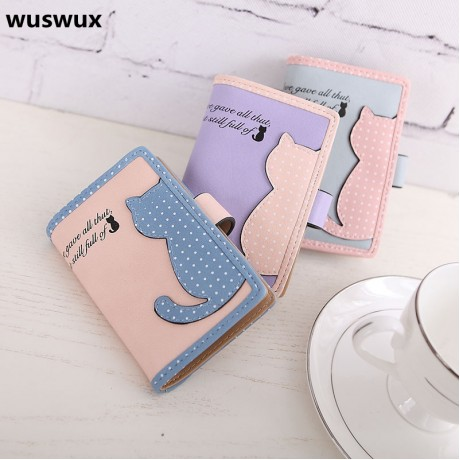 Fashion Cute little cat 20 Card Slot PU Strap Buckle Business card Case Brand ID Credit Card Holder 5 colors