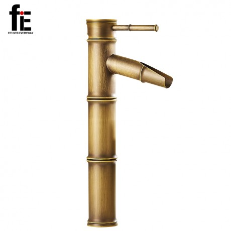 fiE Antique Brass Waterfall Bathroom Sink Faucet Vessel Tall Bamboo Water Tap Mixer