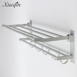 Xueqin Alumimum Foldable Bathroom Towel Rack Holder Storage Hanger Kitchen Hotel Towel Clothes Shelf With 5 Hooks
