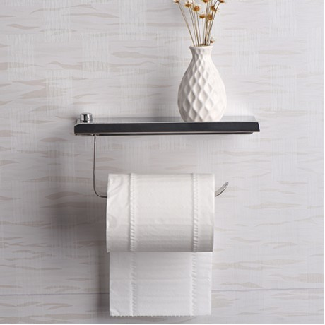 Concise wall mounted toilet paper holder Bathroom fixture Stainless Steel roll paper holders With Phone shelf ZJ113