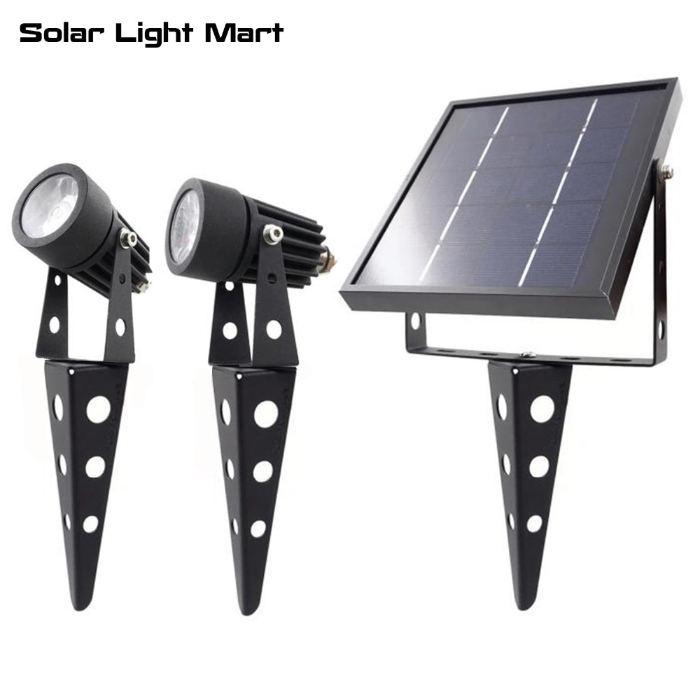 Mini 50X Updated All Metal Twin Solar Powered LED Outdoor Landscape garden decoration Spotlight Waterproof 5m Cable  garden lamp