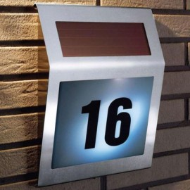 Stainless Steel Solar Powered Light 3 LED Illumination LED Doorplate Wall Lamp Outdoor House Home Numbers Light With Backlight