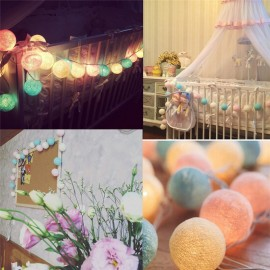 20 Balls/pcs Vintage/sweet Pastel Tone / Pure White Cotton Ball String Fairy Lights Party Home Patio Wedding Romantic Xmas Decor