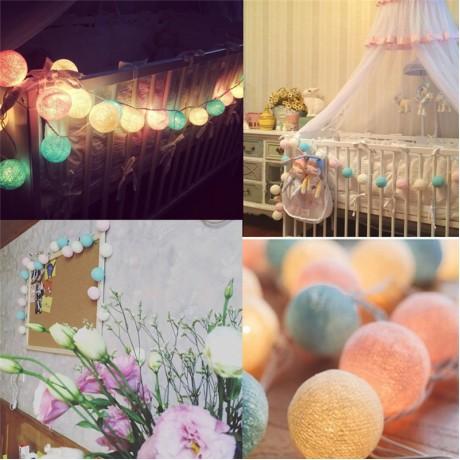 20 Balls/pcs Vintage/sweet Pastel Tone / Pure White Cotton Ball String Fairy Lights Party Home Patio Wedding Romantic Xmas Decor