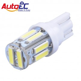 AutoEC 10X LED T10 10 SMD 7014 LED 194 168 501 10Led Instrument Lamps Auto Door Indicator Lights Super Bright White #LB130