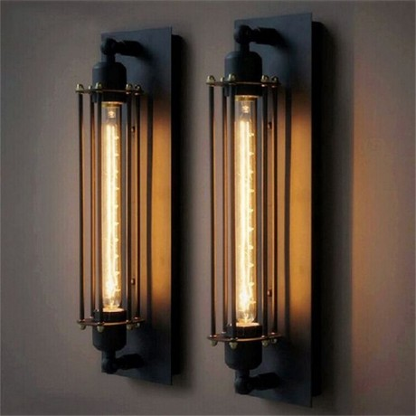 T300 Industrial Rustic Long Black Wall Sconce Plate Lamp Retro Vintage Lighting for indoor use