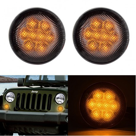 Black LED Light Front Fender Flares Side Marker Turn Signal Light LED Side Marker Lamp For Jeep Wrangler JK Lamp Amber
