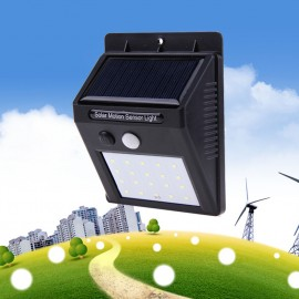 20 LED Solar Powered PIR Motion Sensor Wall Light Outdoor Waterproof Energy Saving Lamp Street Yard Path Garden Security Lights