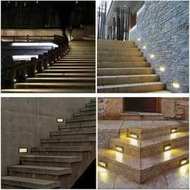 LED Recessed Step Stair Light Wall corner Lamp Porch path Pathway Hotel Stairway Coner Lamps 2W Ac85-265V outdoor waterproof